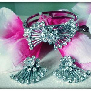 Vintage coro silver bracelet & earring set